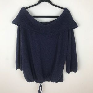 Caslon Navy Knit Off The Shoulder Sweater 3X